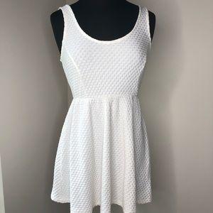 White waffle weave babydoll summer dress